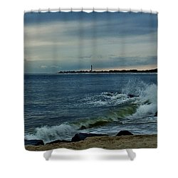 Wave Crashing At Cape May Cove Shower Curtain by Ed Sweeney