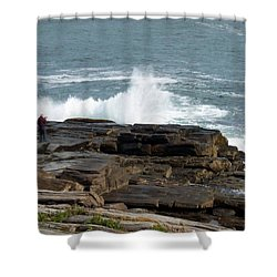 Wave Hitting Rock Shower Curtain