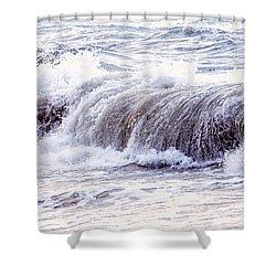 Wave In Stormy Ocean Shower Curtain by Elena Elisseeva