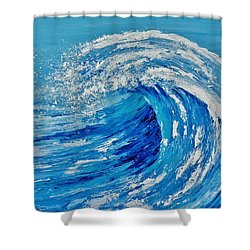 Shower Curtain featuring the painting Wave by Katherine Young-Beck