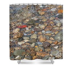 Wave Over Beautiful Rocks Shower Curtain by Carol Groenen