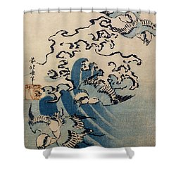 Waves And Birds Shower Curtain by Katsushika Hokusai