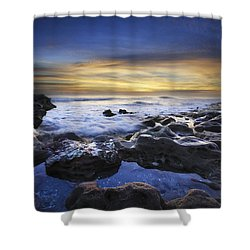 Waves At Coral Cove Beach Shower Curtain by Debra and Dave Vanderlaan