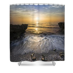 Waves At Sunrise Shower Curtain by Debra and Dave Vanderlaan