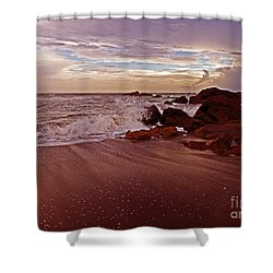 Waves Break Hands Shake Shower Curtain by Lydia Holly