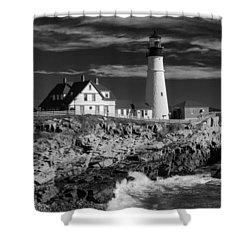 Waves Crashing Shower Curtain by Guy Whiteley