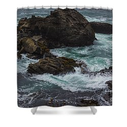 Waves Meet Rock Shower Curtain by Suzanne Luft