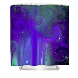 Waves Of Violet - Abstract Shower Curtain by Susan Carella