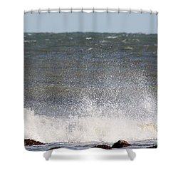 Waves Pounding The Montauk Surf Shower Curtain by John Telfer