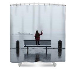 Waving Goodbye Shower Curtain by Joana Kruse