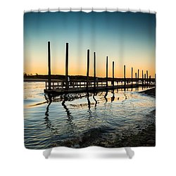 Wavy Sunset Kings Park New York Shower Curtain