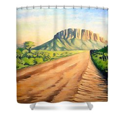 Shower Curtain featuring the painting Way To Maralal by Anthony Mwangi