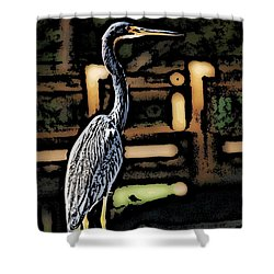 Shower Curtain featuring the digital art Wc Great Blue by David Lane