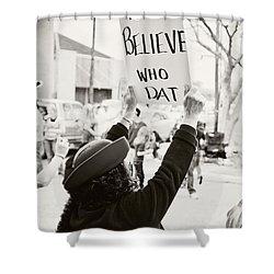 We Believe Shower Curtain by Scott Pellegrin
