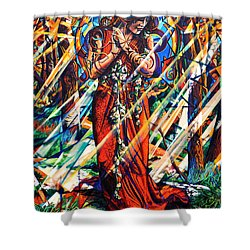 Shower Curtain featuring the painting We Came Along This Road by Greg Skrtic