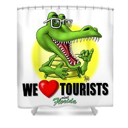 We Love Tourists Gator Shower Curtain by Scott Ross