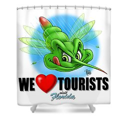 We Love Tourists Mosquito Shower Curtain by Scott Ross