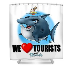 We Love Tourists Shark Shower Curtain by Scott Ross