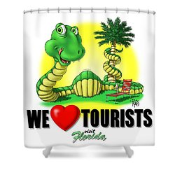 We Love Tourists Snake Shower Curtain by Scott Ross