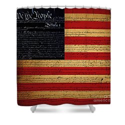 We The People - The Us Constitution With Flag - Square Shower Curtain