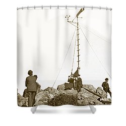 Shower Curtain featuring the photograph Weather Station Mount Tamalpais Marin County California Circa 1902 by California Views Mr Pat Hathaway Archives