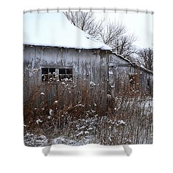 Weathered Barns In Winter Shower Curtain