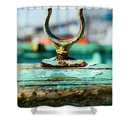 Weathered Boat Oar Lock Shower Curtain by Paul Ward