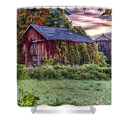 Weathered Connecticut Barn Shower Curtain by John Vose