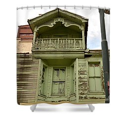 Shower Curtain featuring the photograph Weathered Old Green Wooden House by Imran Ahmed