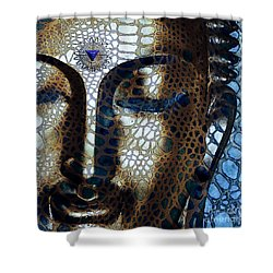 Web Of Dharma - Modern Blue Buddha Art Shower Curtain