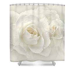 Wedding Day White Roses Shower Curtain