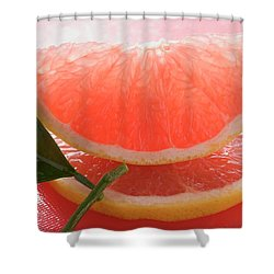 Wedge Of Pink Grapefruit On Slice Of Grapefruit With Leaf Shower Curtain