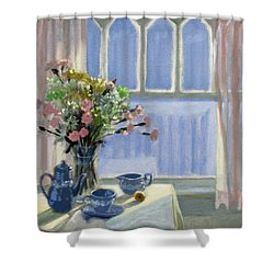 Wedgewood Blues - Flowers By The Window Shower Curtain