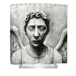 Weeping Angel Don't Blink Doctor Who Fan Art Shower Curtain by Olga Shvartsur