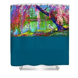 Weeping Beauty, Cherry Blossom Tree And Heron Shower Curtain