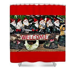 Welcome From The Seven Dwarfs Shower Curtain by Kaye Menner