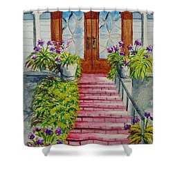 Shower Curtain featuring the painting Welcome by Katherine Young-Beck