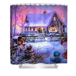 Shower Curtain featuring the digital art Welcome Santa - Retro Vintage Inspired Christmas Scene by Lianne Schneider