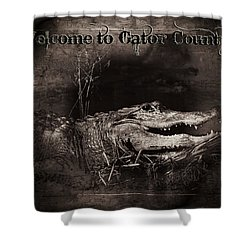 Welcome To Gator Country Shower Curtain by Mark Andrew Thomas
