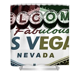 Welcome To Las Vegas Fusion Shower Curtain by John Rizzuto