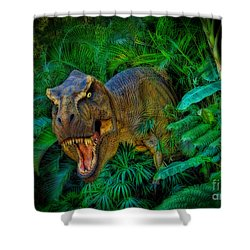 Welcome To My Park Tyrannosaurus Rex Shower Curtain by Olga Hamilton