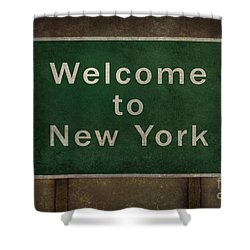 Welcome To New York Highway Road Side Sign Shower Curtain by Bruce Stanfield