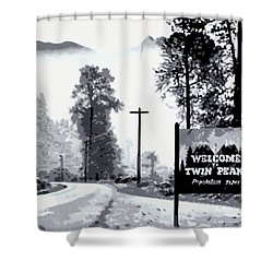 Shower Curtain featuring the painting Welcome To Twin Peaks by Luis Ludzska