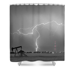 Weld County Dacona Oil Fields Lightning Thunderstorm Bwsc Shower Curtain by James BO  Insogna
