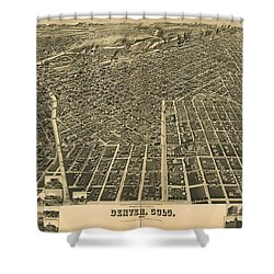 Wellge's Birdseye Map Of Denver Colorado - 1889 Shower Curtain by Eric Glaser