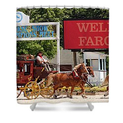 Shower Curtain featuring the photograph Wells Fargo At Devon by Alice Gipson