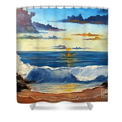 Shower Curtain featuring the painting West Coast Sunset by Lee Piper