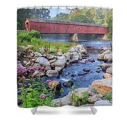 West Cornwall Covered Bridge Square Shower Curtain