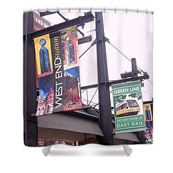 West End Station Dallas Dart Rail Shower Curtain by Donna Wilson