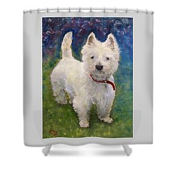 West Highland Terrier Holly Shower Curtain